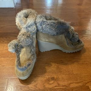 Coach Kataya Camel suede rabbit Fur Boots